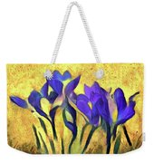 Purple Spring Crocus Flowers Weekender Tote Bag