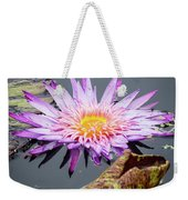 Purple Star Water Lily Weekender Tote Bag