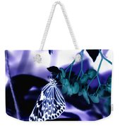 Purple Teal And A White Butterfly Weekender Tote Bag
