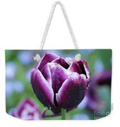 Purple Tulips With Dew Drops On The Outside Of The Petals Weekender Tote Bag