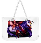 Purple Unicorn With Fairy Friend Weekender Tote Bag by Kristin Aquariann