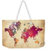 Purple World Map Watercolor Print  Weekender Tote Bag
