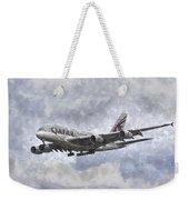Qatar Airlines Airbus And Seagull Escort Art Weekender Tote Bag