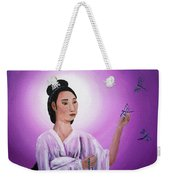 Quan Yin With Three Dragonflies Weekender Tote Bag