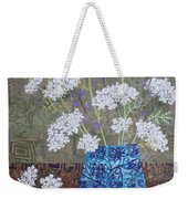 Queen Anne's Lace In Blue Vase Weekender Tote Bag