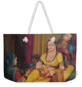 Queen Princess Sitting  Dressing From Her Maids Kaneej  Royal Art Oil Painting On Canvas Weekender Tote Bag