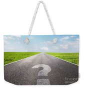 Question Mark Symbol On Long Empty Straight Road Weekender Tote Bag