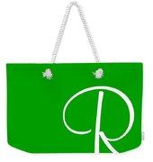 R In White Simple Script Weekender Tote Bag
