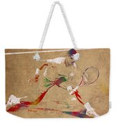 Rafael Nadal Tennis Star Watercolor Portrait On Worn Canvas Weekender Tote Bag
