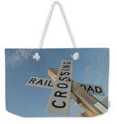 Railroad Crossing Sign Weekender Tote Bag