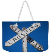 Railroad Crossing Wooden Sign Weekender Tote Bag