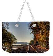 Railroad Track By The Mississippi  Weekender Tote Bag