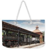 Railway Station With Old Steam Locomotive Weekender Tote Bag