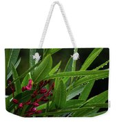 Rain Coated Blades Of Grass And  Deep Pink Petals Weekender Tote Bag