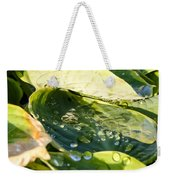 Rain Collecting On Hosta Leaves Weekender Tote Bag