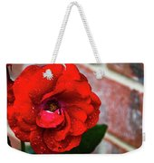 Rain Covered Red Rose Weekender Tote Bag