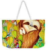 Rain Forest Survival Mother And Baby Three Toed Sloth Weekender Tote Bag
