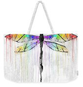 Abstract Dragonfly - White Rainbow Weekender Tote Bag