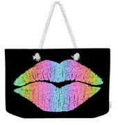 Rainbow Kiss, Lipstick On Pouty Kissing Lips, Fashion Art Weekender Tote Bag