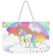 Rainbow Unicorn Clouds And Stars Weekender Tote Bag