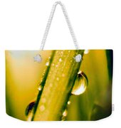Raindrops On A Blade Of Grass Weekender Tote Bag by Mariola Bitner