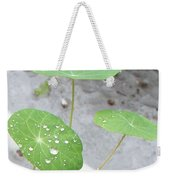Raindrops On A Nasturtium Leaf Weekender Tote Bag