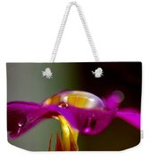 Raindrops On A Pink Flower Weekender Tote Bag