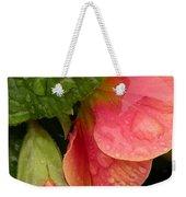 Raindrops On Coral Flowers Weekender Tote Bag