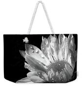 Raindrops On Daisy Black And White Weekender Tote Bag by Jennie Marie Schell