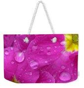 Raindrops On Pink Flowers Weekender Tote Bag by Carol Groenen
