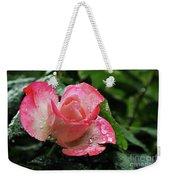 Raindrops On Pink Rose Weekender Tote Bag