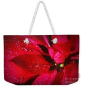 Raindrops On Red Poinsettia Weekender Tote Bag