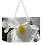 Raindrops On White Irises Flowers Sunlit Baslee Troutman Weekender Tote Bag