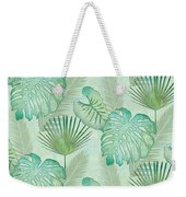 Rainforest Tropical - Elephant Ear And Fan Palm Leaves Repeat Pattern Weekender Tote Bag