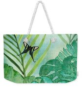 Rainforest Tropical - Philodendron Elephant Ear And Palm Leaves W Botanical Butterfly Weekender Tote Bag