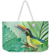 Rainforest Tropical - Tropical Toucan W Philodendron Elephant Ear And Palm Leaves Weekender Tote Bag