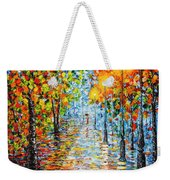 Rainy Autumn Evening In The Park Acrylic Palette Knife Painting Weekender Tote Bag