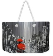 Rainy Day City Girl In Red Weekender Tote Bag