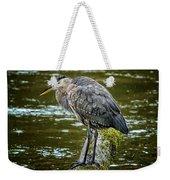 Rainy Day Heron Weekender Tote Bag by Belinda Greb