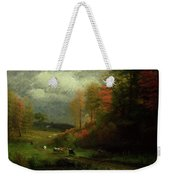 Rainy Day In Autumn Weekender Tote Bag by Albert Bierstadt