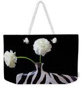 Ranunculus In Black And Whie Vase Weekender Tote Bag