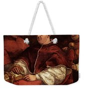 Raphael Pope Leo X With Cardinals Giulio De  Medici And Luigi De  Rossi Weekender Tote Bag