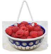 Raspberries In Polish Pottery Bowl  Weekender Tote Bag
