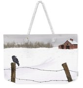 Raven In Winter Weekender Tote Bag