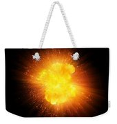 Realistic Fire Explosion, Orange Color With Sparks Isolated On Black Background Weekender Tote Bag