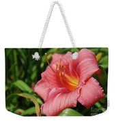 Really Pretty Blooming Pink Daylily In A Garden Weekender Tote Bag