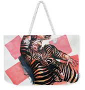 Reclined Striped And Symbolic  Weekender Tote Bag
