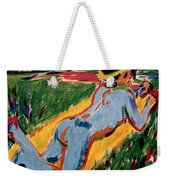 Reclining Blue Nude With Straw Hat Weekender Tote Bag