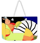 Reclining Nude In Blue And Red Weekender Tote Bag