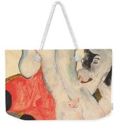 Reclining Woman In Red Trousers And Standing Female Nude Weekender Tote Bag by Egon Schiele